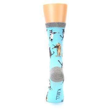 Image of Blue Grey Musical Cats Women's Dress Socks (back-18)