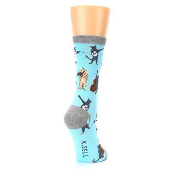 Image of Blue Grey Musical Cats Women's Dress Socks (side-1-back-21)