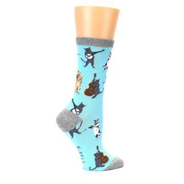 Image of Blue Grey Musical Cats Women's Dress Socks (side-1-24)