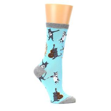 Image of Blue Grey Musical Cats Women's Dress Socks (side-1-25)