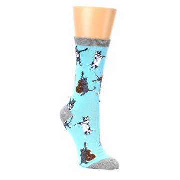 Image of Blue Grey Musical Cats Women's Dress Socks (side-1-27)