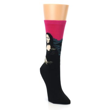 Image of Pink Mona Lisa Women's Dress Socks (side-1-front-02)