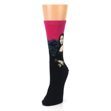 Image of Pink Mona Lisa Women's Dress Socks (side-2-front-07)