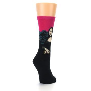 Image of Pink Mona Lisa Women's Dress Socks (side-1-back-21)