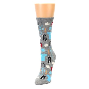 Image of Grey Medical Women's Dress Socks (side-2-front-07)