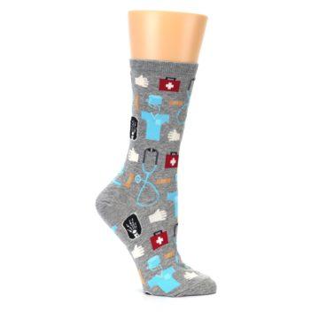 Image of Grey Medical Women's Dress Socks (side-1-25)