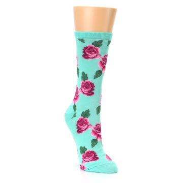 Image of Mint Pink Rose Flowers Women's Dress Socks (side-1-front-02)