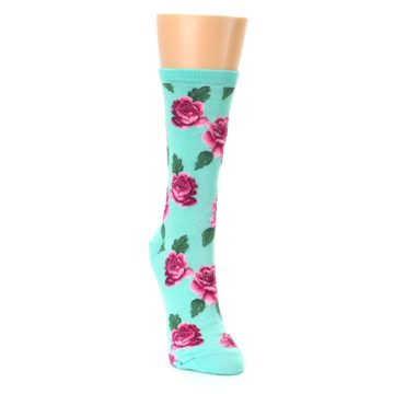 Image of Mint Pink Rose Flowers Women's Dress Socks (side-1-front-03)