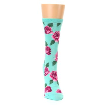 Image of Mint Pink Rose Flowers Women's Dress Socks (front-04)