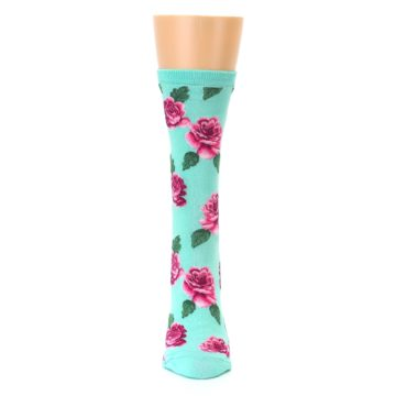 Image of Mint Pink Rose Flowers Women's Dress Socks (front-05)
