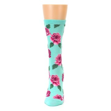 Image of Mint Pink Rose Flowers Women's Dress Socks (side-2-front-06)