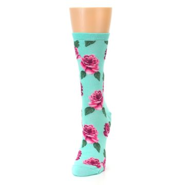 Image of Mint Pink Rose Flowers Women's Dress Socks (side-2-front-07)