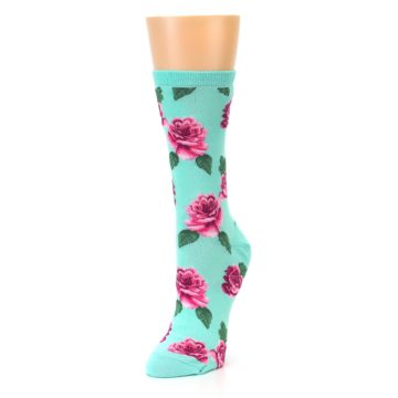 Image of Mint Pink Rose Flowers Women's Dress Socks (side-2-front-08)