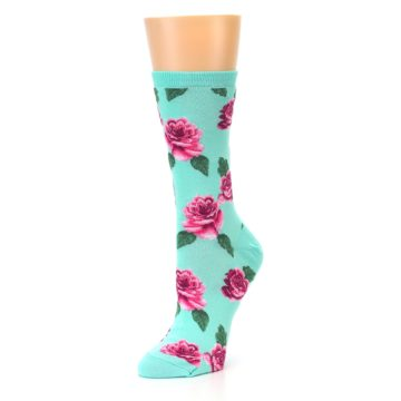 Image of Mint Pink Rose Flowers Women's Dress Socks (side-2-09)