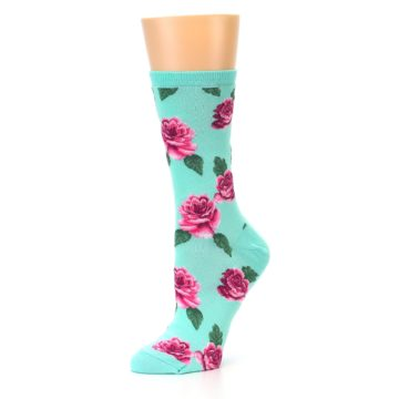Image of Mint Pink Rose Flowers Women's Dress Socks (side-2-10)