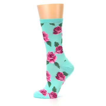 Image of Mint Pink Rose Flowers Women's Dress Socks (side-2-12)