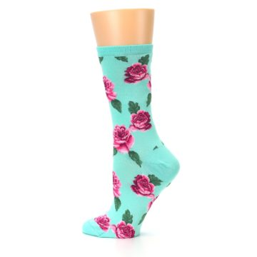 Image of Mint Pink Rose Flowers Women's Dress Socks (side-2-13)