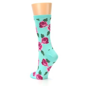 Image of Mint Pink Rose Flowers Women's Dress Socks (side-2-back-15)