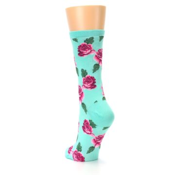Image of Mint Pink Rose Flowers Women's Dress Socks (side-2-back-16)
