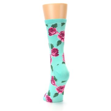 Image of Mint Pink Rose Flowers Women's Dress Socks (back-17)