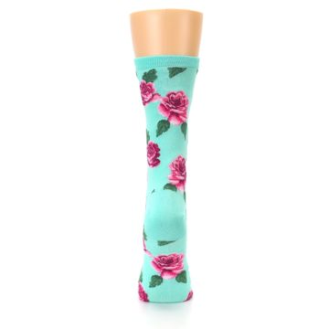 Image of Mint Pink Rose Flowers Women's Dress Socks (back-19)
