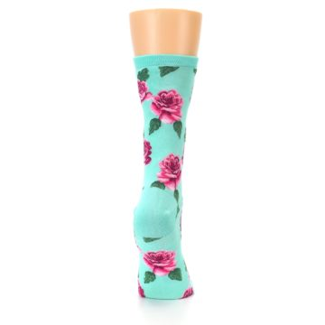 Image of Mint Pink Rose Flowers Women's Dress Socks (side-1-back-20)