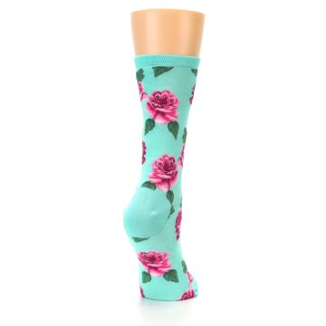 Image of Mint Pink Rose Flowers Women's Dress Socks (side-1-back-21)