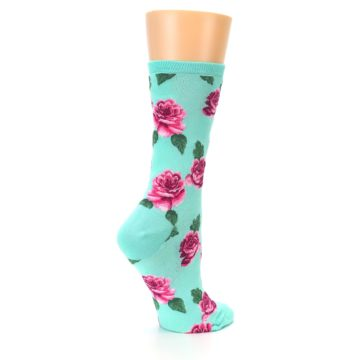 Image of Mint Pink Rose Flowers Women's Dress Socks (side-1-23)