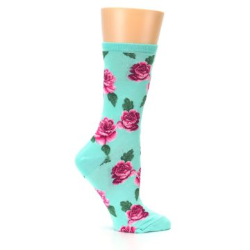 Image of Mint Pink Rose Flowers Women's Dress Socks (side-1-25)