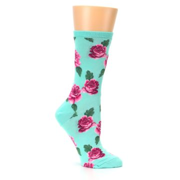 Image of Mint Pink Rose Flowers Women's Dress Socks (side-1-26)