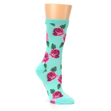 Image of Mint Pink Rose Flowers Women's Dress Socks (side-1-27)