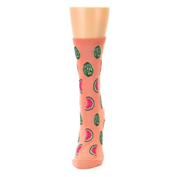 Image of Orange Watermelon Women's Dress Socks (side-2-front-06)