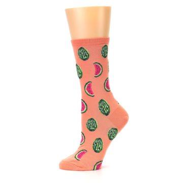 Image of Orange Watermelon Women's Dress Socks (side-2-11)