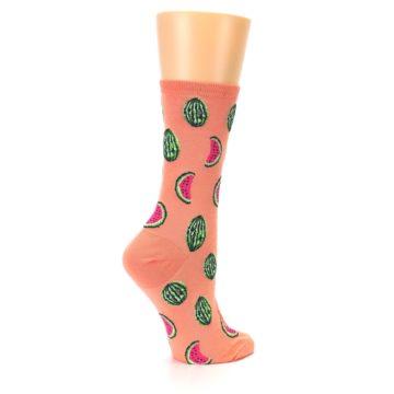 Image of Orange Watermelon Women's Dress Socks (side-1-23)