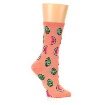 Image of Orange Watermelon Women's Dress Socks (side-1-25)