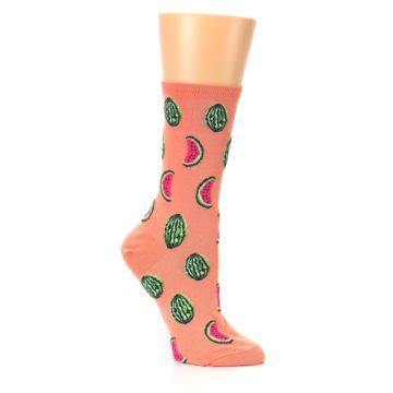 Image of Orange Watermelon Women's Dress Socks (side-1-26)
