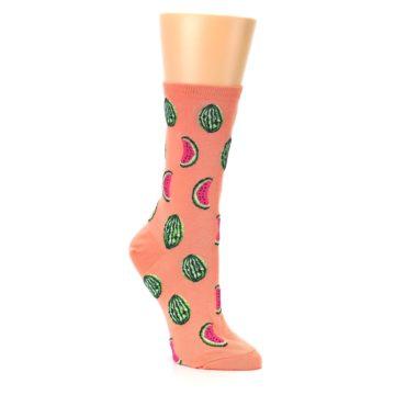 Image of Orange Watermelon Women's Dress Socks (side-1-27)