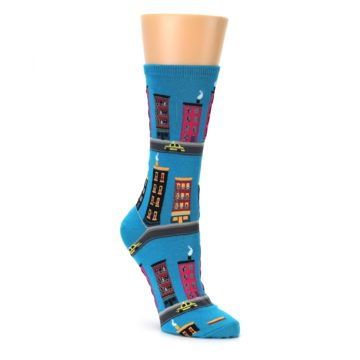 City Building Socks for Women with Skyscrapers and Taxi