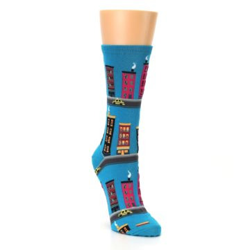 Image of Turquoise City Buildings Women's Dress Socks (side-1-front-02)