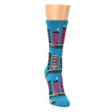 Image of Turquoise City Buildings Women's Dress Socks (side-1-front-03)