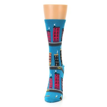 Image of Turquoise City Buildings Women's Dress Socks (side-2-front-06)