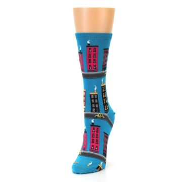 Image of Turquoise City Buildings Women's Dress Socks (side-2-front-07)