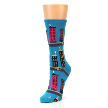 Image of Turquoise City Buildings Women's Dress Socks (side-2-front-08)
