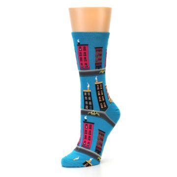 Image of Turquoise City Buildings Women's Dress Socks (side-2-09)