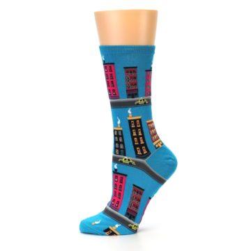 Image of Turquoise City Buildings Women's Dress Socks (side-2-11)