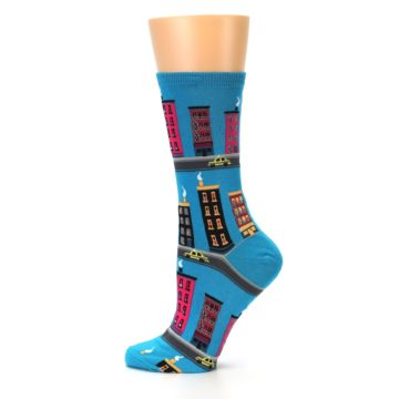 Image of Turquoise City Buildings Women's Dress Socks (side-2-12)