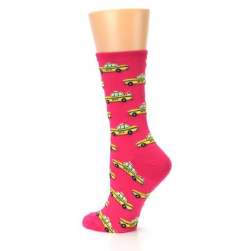 Image of Pink Yellow NYC Taxi Cabs Women's Dress Socks (side-2-back-14)
