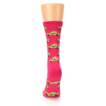 Image of Pink Yellow NYC Taxi Cabs Women's Dress Socks (back-18)