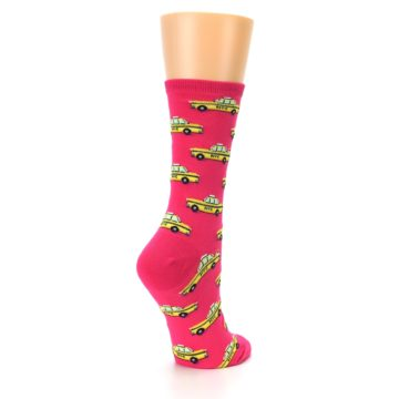 Image of Pink Yellow NYC Taxi Cabs Women's Dress Socks (side-1-back-22)