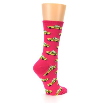 Image of Pink Yellow NYC Taxi Cabs Women's Dress Socks (side-1-23)